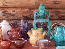 Handicrafts. Various pots displayed at the outdoor exhibition. Handicrafts. Various pots displayed at the outdoor exhibition in park-reserve Kolomenskoye in stock photography