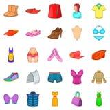 Handige geplaatste pictogrammen, beeldverhaalstijl Stock Foto's