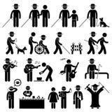 Handikapp Cliparts för blind man Royaltyfri Foto