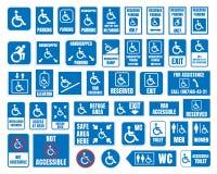 Handikapp tecken, wc och parkeringssymboler, rörelsehindrat folk Royaltyfri Fotografi