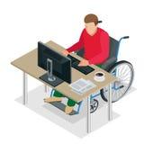 Handikappad man i rullstol i ett kontor som arbetar på en dator Plan isometrisk illustration för vektor 3d stock illustrationer