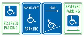 Handikappat reserverat parkeringstecken stock illustrationer