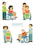 Handikapppersonuppsättning royaltyfri illustrationer