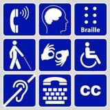 Handikappsymbol- och teckensamling Arkivfoto