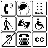 Handikappsymbol- och teckensamling Arkivbild