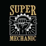 Handillustration av mekanikern Super Mechanic royaltyfri illustrationer