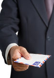 Handing a airmail Stock Photo