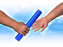 Handing the baton. 3D rendered image - Handing the baton Stock Photography