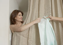 Handing on Clothes Royalty Free Stock Images