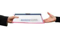 Handing File Folder, teamwork concept Stock Images