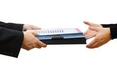 Handing File Folder, Teamwork Concept Royalty Free Stock Image