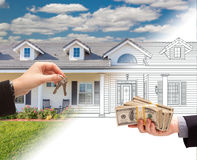 Handing Keys to Man with Stacks of Money In Front Of House Drawing Gradating to Photograph. Handing Keys to Man with Stacks of Money In Front Of a House Drawing royalty free stock photos