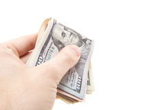 Handing out various dollar notes Royalty Free Stock Photos