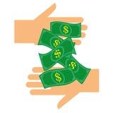 Handing Over Dollars Stock Photography