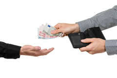 Handing Over Euro Banknotes. Royalty Free Stock Photos