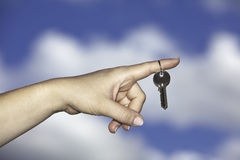 Handing over of house keys Royalty Free Stock Photography