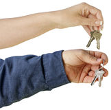 Handing over house keys Royalty Free Stock Photos