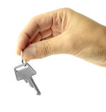 Handing over key isolated on white background Stock Photos