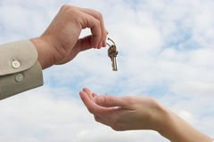 Handing over the keys royalty free stock photography