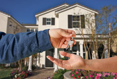 Handing Over the Keys. To A New Home Stock Image