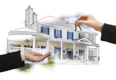 Handing Over Keys On House Drawing and Photo on White. Handing Over Keys On House Drawing and Photo Combination on White royalty free stock photos