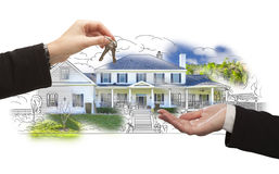 Handing Over Keys On House Drawing and Photo on White Stock Images
