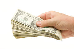 Handing Over Money. Isolated on a White Background Royalty Free Stock Image
