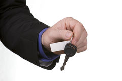 Handing over New vehicle keys Royalty Free Stock Image