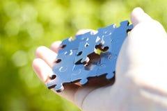 Handing set of puzzle pieces Stock Photo
