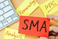 """Handinnehavkort med socialt massmedia för SMA-†som """"annonserar royaltyfri fotografi"""