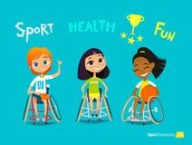 Handisport Caractère handicapé d'enfants Entraînement de jeunes sportsmens handicapés Réadaptation médicale Vecteur Image libre de droits