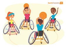Handisport characters. Boys and girls in wheelchairs playing baysball Handicap First-person view. Medical rehabilitation Illustrat Stock Photo