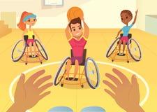 Handisport Garçons et filles dans des fauteuils roulants jouant le baysball dans un gymnase d'école Vue de la première personne d Photo stock