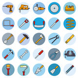 Handiwork Tools Round Filled Line Icons vector illustration