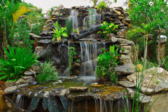 Handiwork waterfall for decoration in big garden Royalty Free Stock Photography