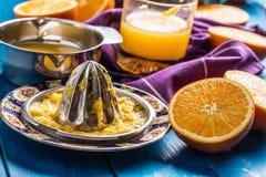 Handjuicer och nya apelsiner tropiska nya frukter Royaltyfria Bilder