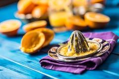 Handjuicer och nya apelsiner tropiska nya frukter Royaltyfri Bild