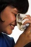 Handkerchief. A boy with his handkerchief Stock Photo