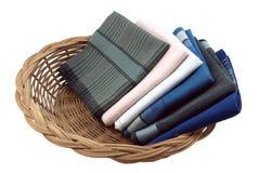 Handkerchief in basket Stock Photos