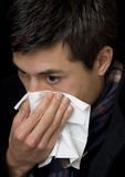 Handkerchief at cold Royalty Free Stock Photos