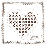 Handkerchief with embroidery heart Royalty Free Stock Image