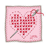Handkerchief with heart embroidery. Stock Image