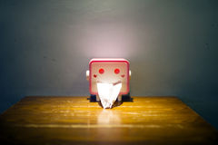 The handkerchief paper holder with funny face. Royalty Free Stock Photo