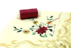 Handkerchief Sewing. With Threads and Needle Stock Photo