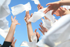 Handkerchief on the Sky. Lot of hand holding Handkerchief on the Sky Stock Photos