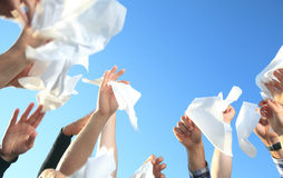 Handkerchief on the Sky. Lot of hand holding Handkerchief on the Sky Stock Photo