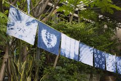 Handkerchief tie batik dyeing tie batik indigo color. Or mauhom color and hanging process dry clothes in the sun at garden outdoor in Nonthaburi, Thailand royalty free stock images