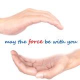 Handkonzept - kann die Kraft mit Ihnen sein Stockfoto