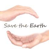 Handkonzept - retten Sie die Erde Stockbilder