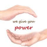 Handkonzept - wir geben Ihnen Energie Lizenzfreie Stockfotos